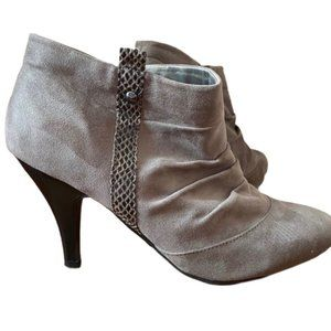 Madeline vegan suede ankle boot. Taupe, tan, grey